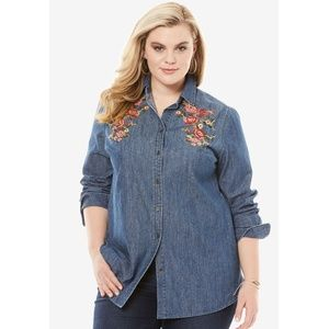 Plus Denim Chambray Shirt with Embroidery, 32W